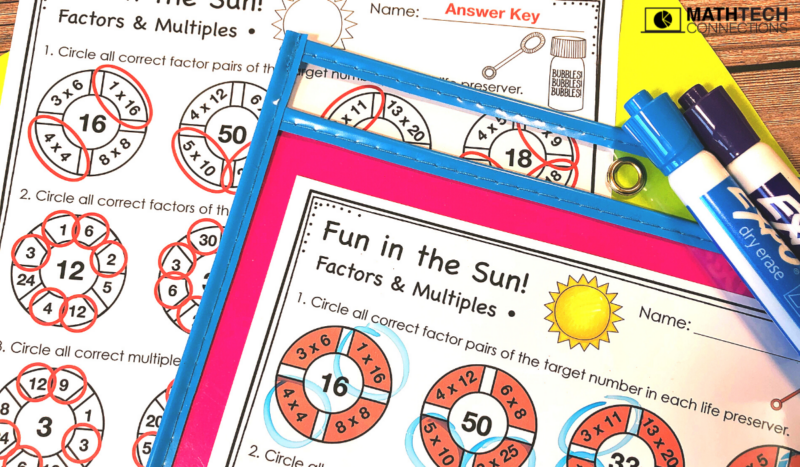 5th Grade Back to School Math Activities - Factors and Multiples August Math Centers