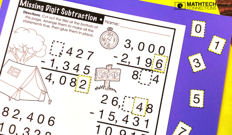 5th Grade Back to School Math Activities - Missing Digit Subtraction August Math Centers