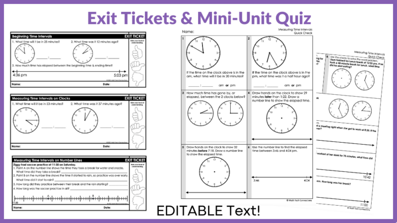 small group math activity for telling time third grade - guided math lessons - telling time math mat and task cards