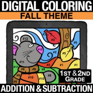 Fall Autumn Halloween Math Activities - Digital Coloring Addition & Subtraction | 1st Grade | 2nd Grade