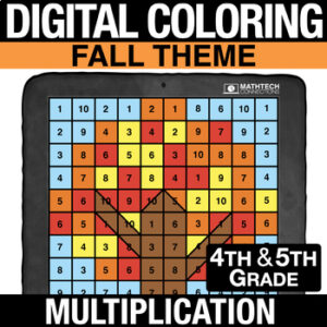 Fall Autumn Halloween Math Activities - Digital Coloring Multiplication
