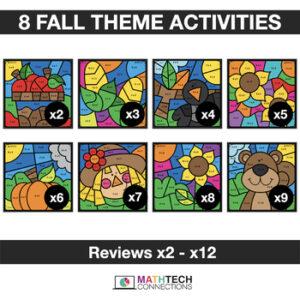 Fall Autumn Halloween Math Activities - Digital Coloring Multiplication Facts | 3rd Grade | 4th Grade | 5th Grade
