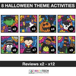 Halloween Math Activities - Digital Coloring - Multiplication - 3rd Grade, 4th Grade, 5th Grade