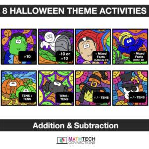 Halloween Math Activities - Digital Coloring - Addition & Subtraction - 1st Grade, 2nd Grade