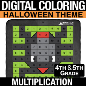 Halloween Math Activities - Digital Coloring - Multiplication - 4th Grade, 5th Grade