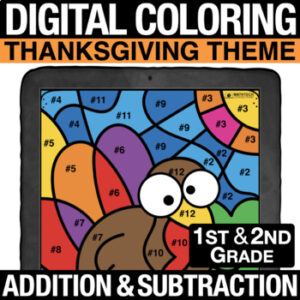 Fall Autumn Thanksgiving Math Activity - Addition & Subtraction - 1st Grade, 2nd Grade Digital Coloring