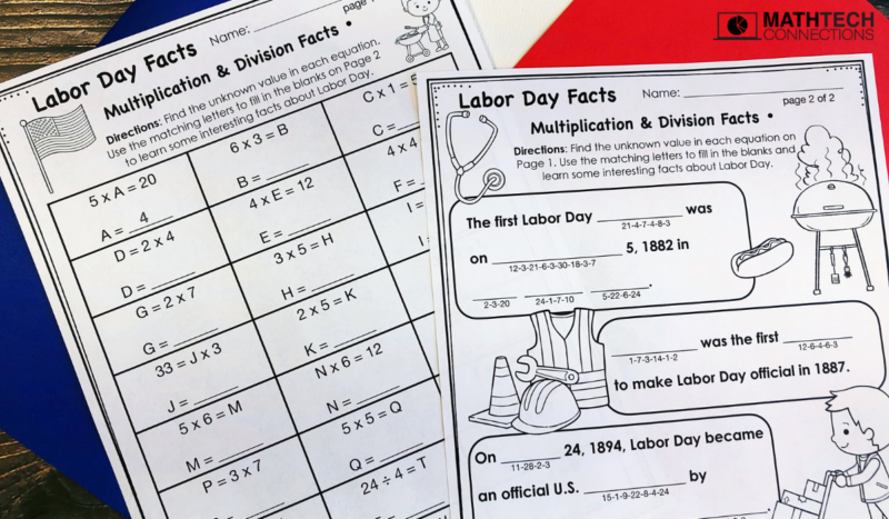 3rd grade math labor day facts multiplication and division facts