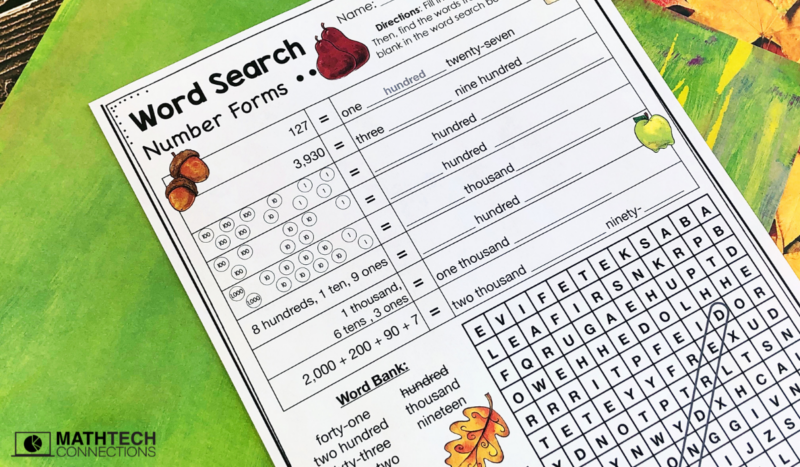 3rd grade math number forms word search