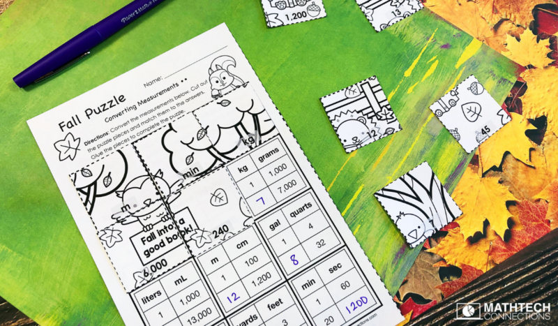 4th grade math converting measurements puzzle