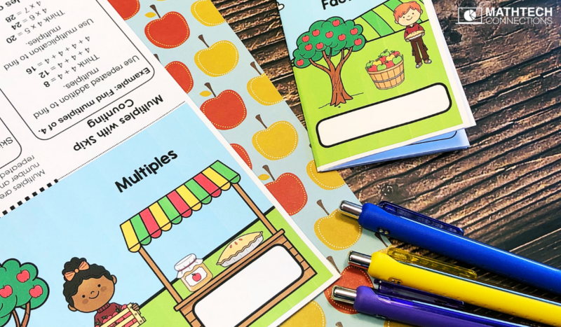 4th grade math multiples mini-books