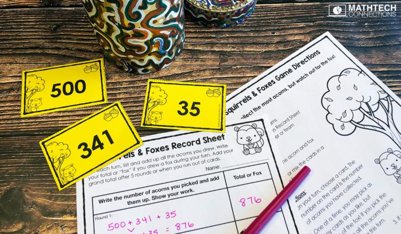 4th grade math addition card game