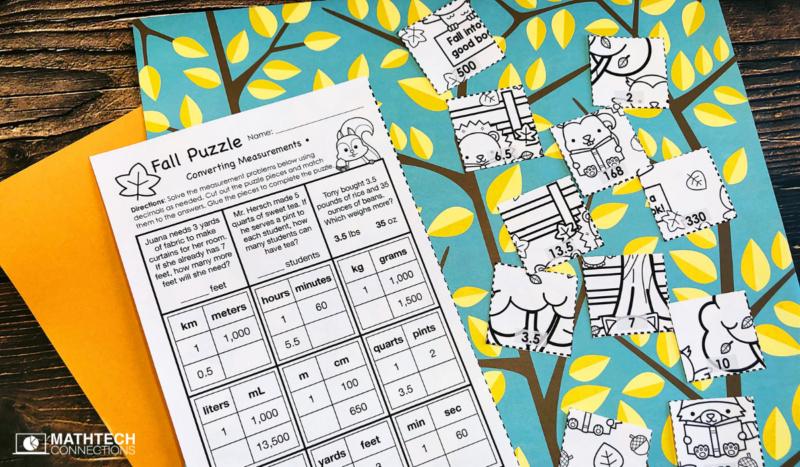 5th grade math converting measurements fall puzzle
