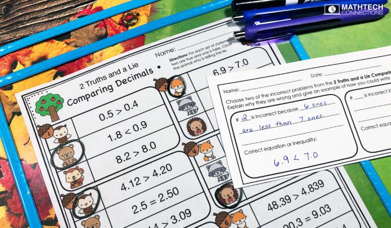 5th grade math comparing decimals 2 truths and a lie