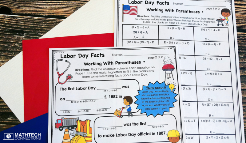 5th grade math Labor Day Facts Working with Parentheses