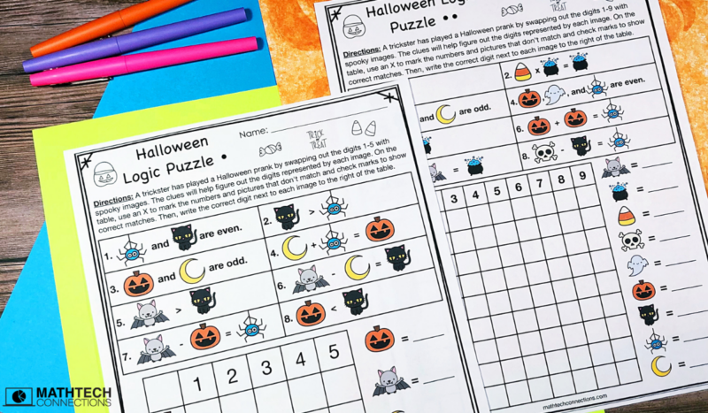 Halloween Logic Puzzles - October Math Centers