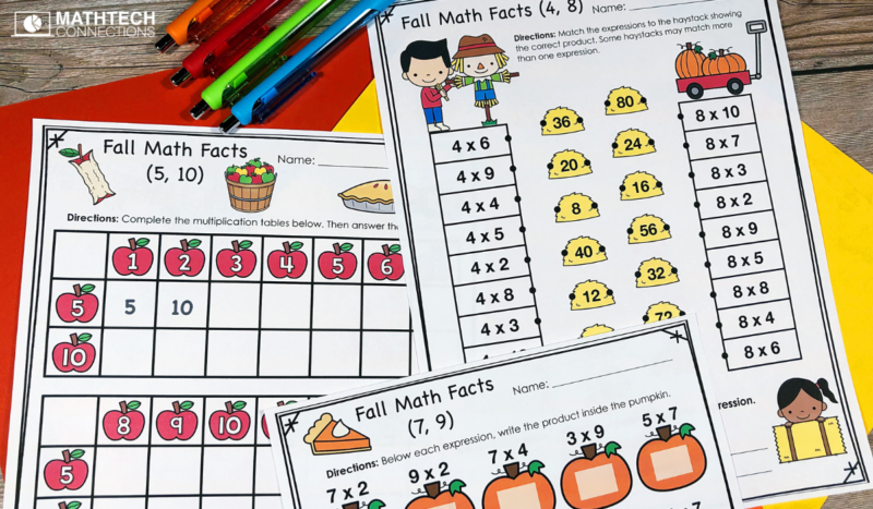 Multiplication Facts October Practice Worksheets