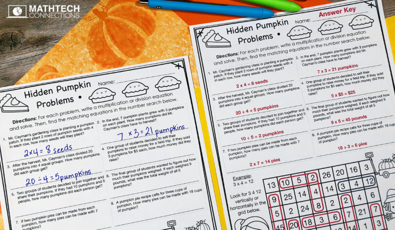 3rd Grade Math Word Problems for October