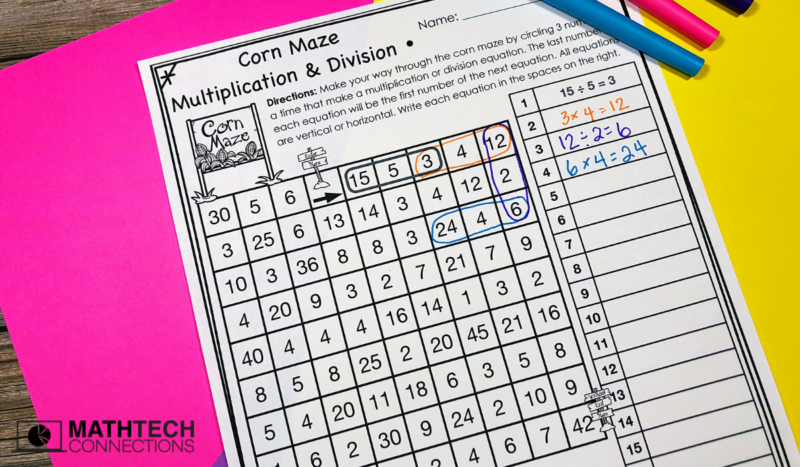 Multiplication and Division Math Mazes - October Math Centers
