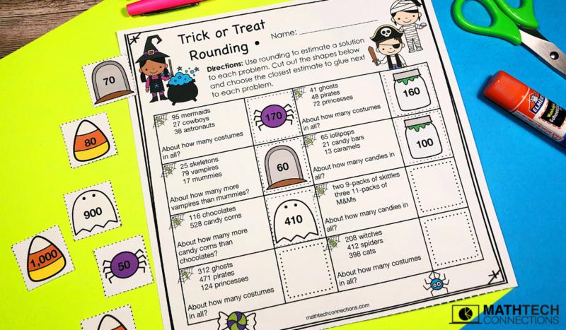 October Math Centers - Rounding Third Grade Review