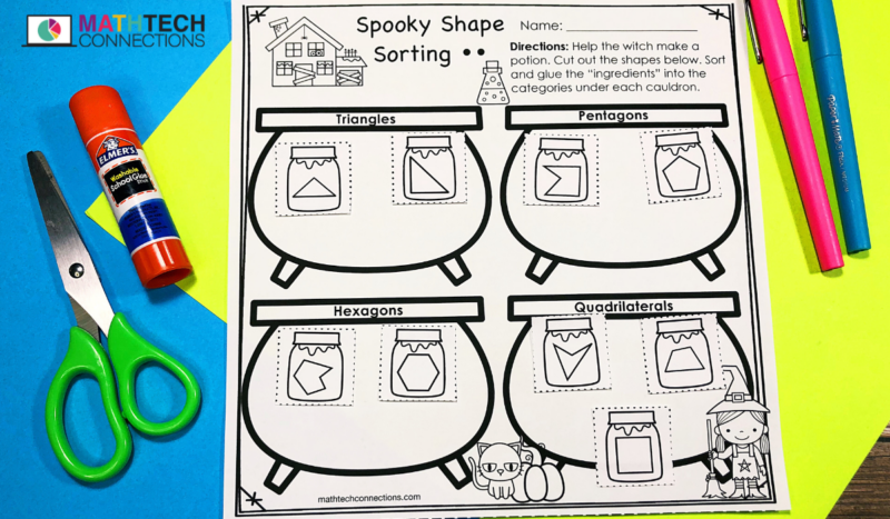 October Math Centers - Shape Sorting Cut and Paste