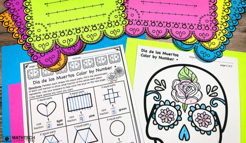 Dia de Los Muertos Math Centers - Partitioning Shapes Third Grade