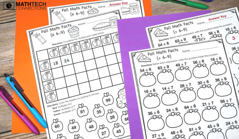 October Math Centers Multiplication and Division Worksheets
