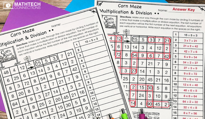 October Math Centers: Multiplication and Division Maze