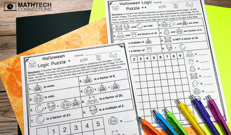 Halloween Logic Puzzle - 4th Grade Math Activities for October
