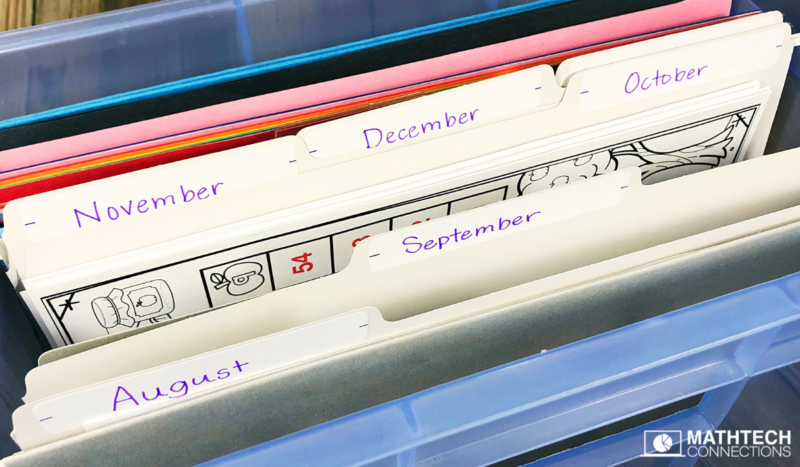 Organize Math Centers using File Folders