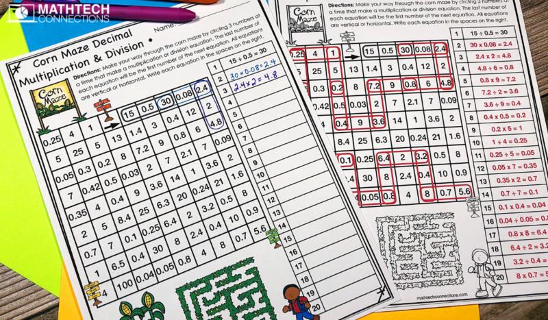 5th Grade Math Centers: Multiplying and Dividing decimals maze