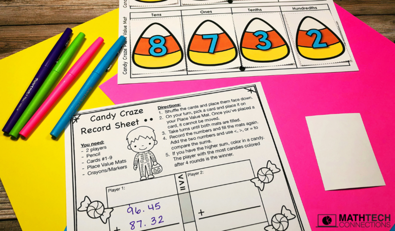 October Math Centers: Add and Subtract Decimals 5th Grade