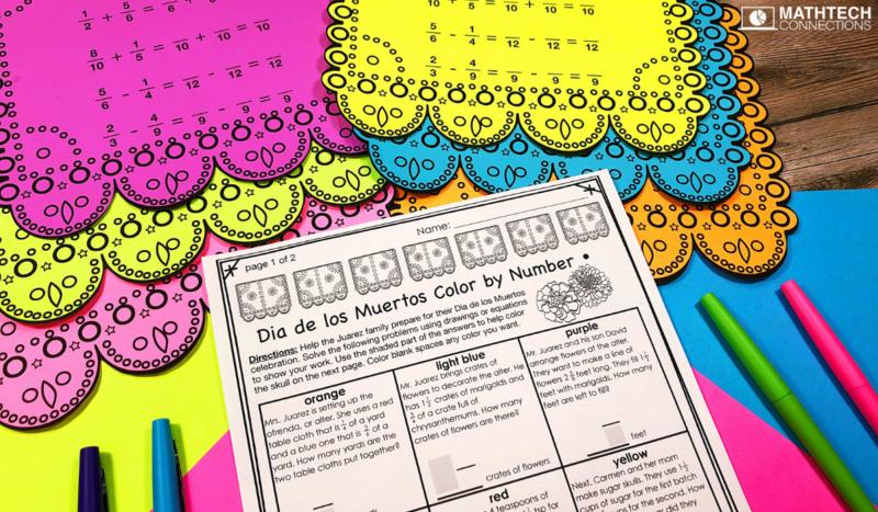 Dia de los Muertos Math Activity 5th Grade