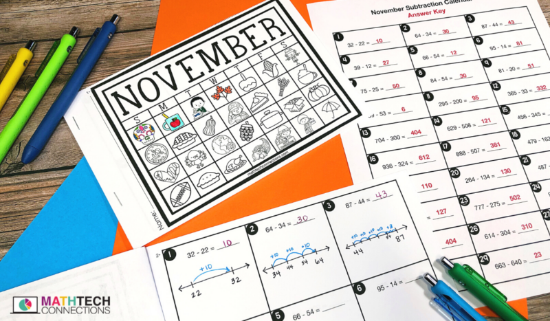 3rd grade math - November Math Activities - subtraction fluency daily practice
