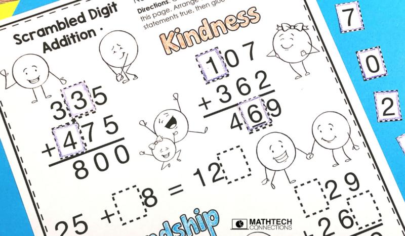 3rd grade math - November Math Activities - addition missing digits