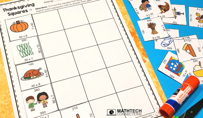 3rd grade math - November Math Activities - multiplication puzzle