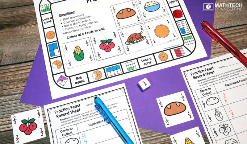 3rd grade math - November Math Activities - equivalent fractions riddle