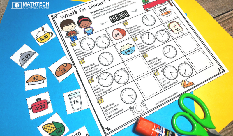 3rd grade math - November Math Activities - elapsed time cut and paste interactive activity