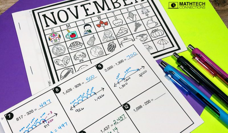 4th grade math - November Math Activities - Subtraction with regrouping daily practice