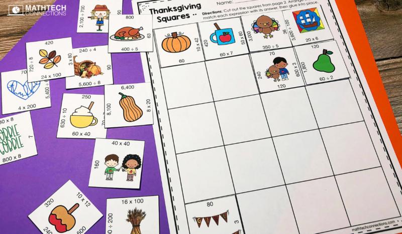 4th grade math - November Math Activities - multiplication puzzle