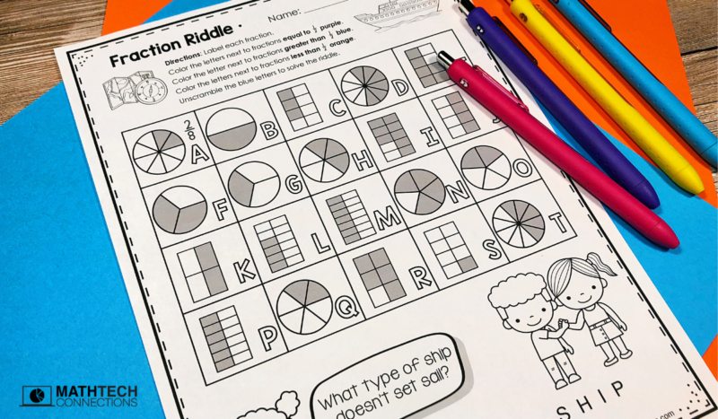 4th grade math - November Math Activities - equivalent fractions riddle
