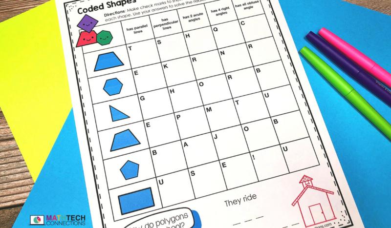 4th grade math - November Math Activities - geometry review