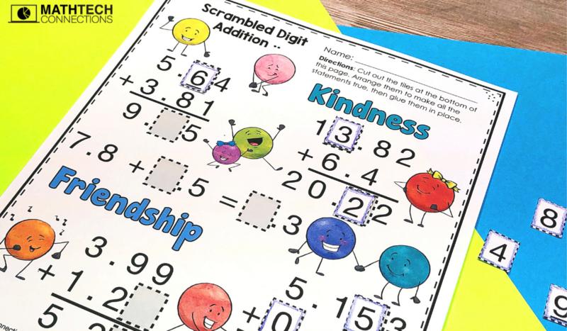 5th grade math - November Math Activities - adding decimals missing digits