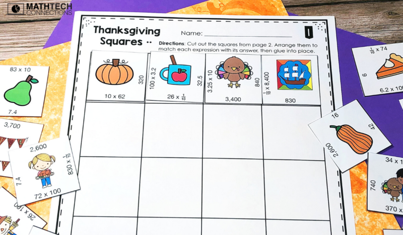 5th grade math - November Math Activities - multiplying fractions puzzle