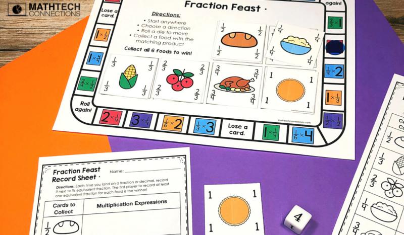 5th grade math - November Math Activities - equivalent fractions game board