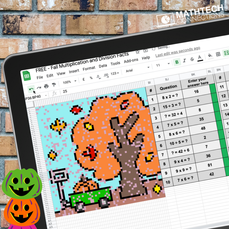 October fall multiplication and division digital mystery image or fact fluency practice 3rd grade math
