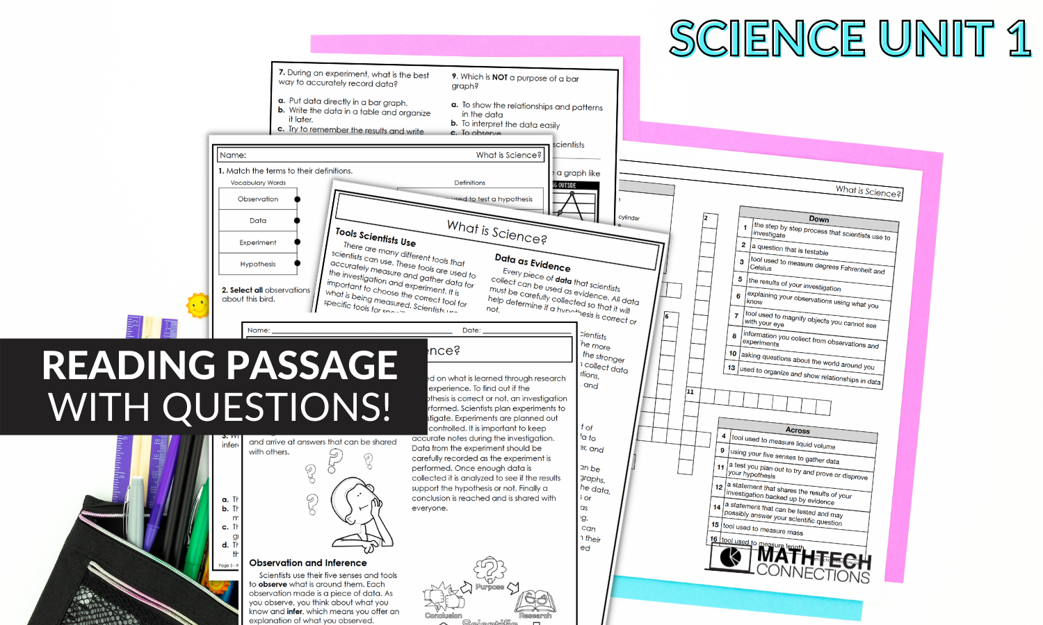 Third Grade Science Unit with Editable PowerPoint Lessons, 3rd Grade Science Reading Passage with Questions